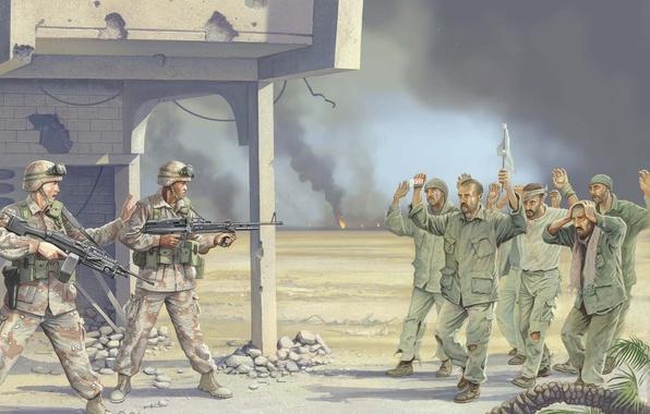 Картинка оружие, огонь, война, дым, рисунок, арт, солдаты, экипировка, Ирак, пулемёты, ВС США, военнослужащих, сдача, в …