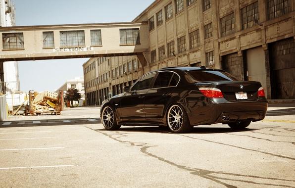 Картинка чёрный, бмв, BMW, black, задняя часть, E60, 5 Series