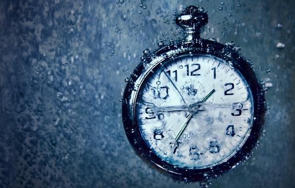 Картинка вода, макро, пузырьки, время, часы, под водой