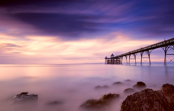 Картинка небо, облака, берег, Англия, вечер, розовое, пирс, залив, Великобритания, синее, графство, Сомерсет