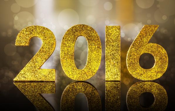 Обои картинки фото 2016, happy, new year, golden, glitter, bokeh, новый год
