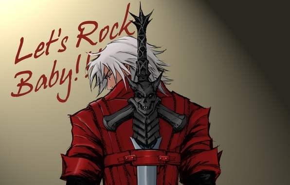 Картинка стена, надпись, пистолеты, меч, sword, Dante, красный плащ, Данте, baby, game wallpapers, фанарт, fanart, Rebellion, …