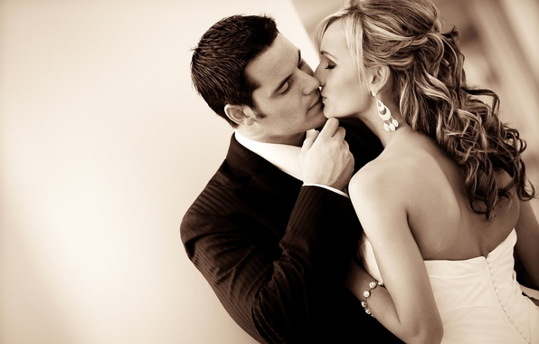 Картинка любовь, настроение, романтика, чувства, поцелуй, платье, пара, костюм, отношения, невеста, свадьба, молодожены, жених