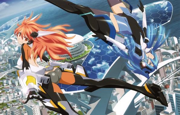 Картинка небо, облака, город, улыбка, девушки, океан, дома, аниме, арт, senki zesshou symphogear, Kanade Amou, Tsubasa …
