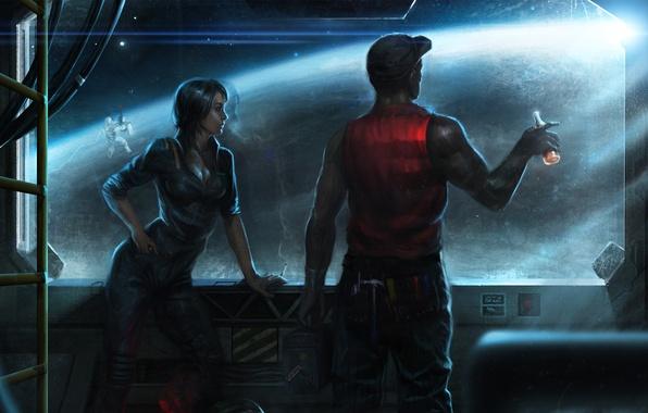 Картинка девушка, космос, корабль, бутылка, планета, окно, арт, орбита, иллюминатор, шлем, мужчина, астронавт, Salvador Trakal