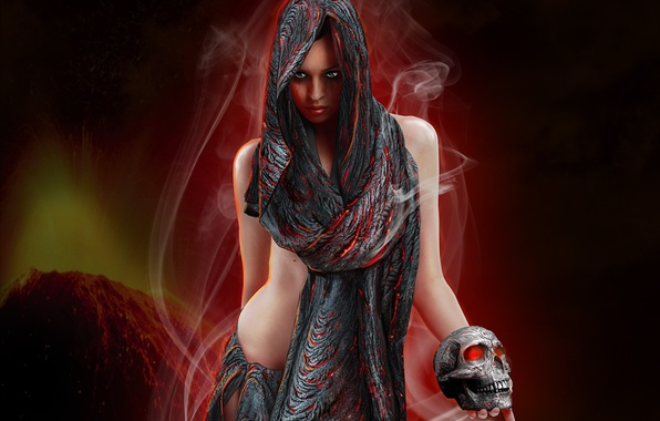 Картинка глаза, взгляд, девушка, лицо, фантастика, дым, череп, руки, арт, ткань, платок