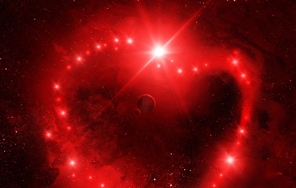Картинка космос, звезды, красное, планеты, Valentine's Space