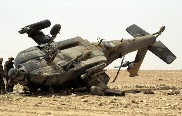 Картинка крушение, ирак, AH-64 Apache, пустиня