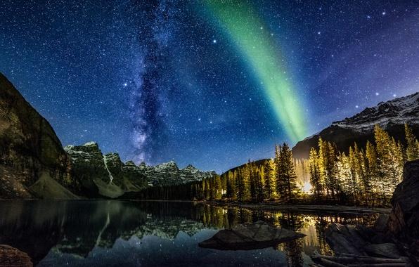 Картинка небо, звезды, деревья, пейзаж, горы, ночь, природа