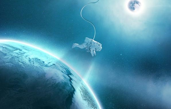 Фото обои звезды, космос, орбита, синева, спутник, планета, астронавт, свет, скафандр, космонавт