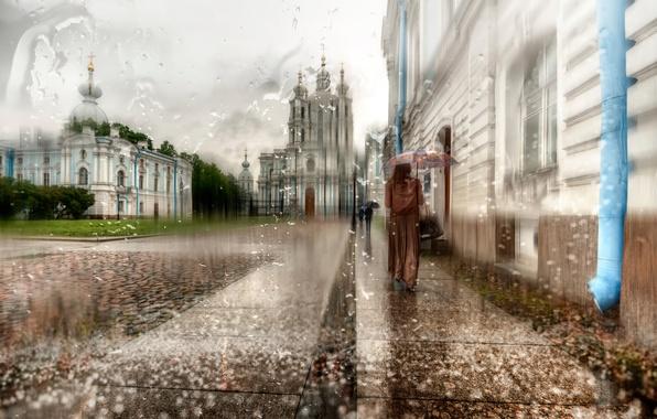 Картинка девушка, капли, дождь, зонт, Санкт-Петербург, плащ