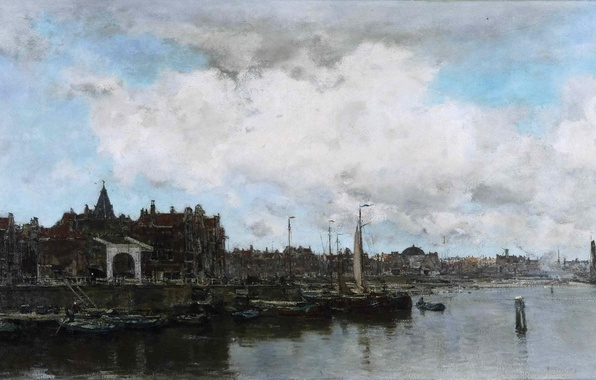 Картинка море, небо, пейзаж, тучи, город, река, дома, картина, лодки, порт, парус, набережная, Jacob Hendricus Maris