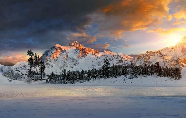 Картинка небо, горы, озеро