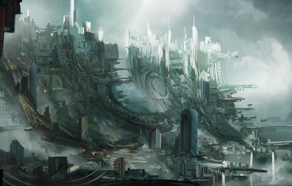Картинка город, трущобы, Leon Tukker, Sky slums