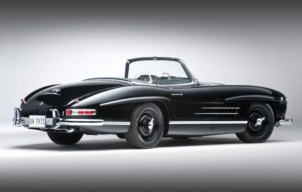Картинка чёрный, кабриолет, классика, mercedes-benz, мерседес, вид сзади, 1957, красивая машина, 300сл, 300sl