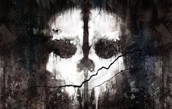 Картинка стена, краска, череп, трещина, Activision, Infinity Ward, Call of Duty: Ghosts