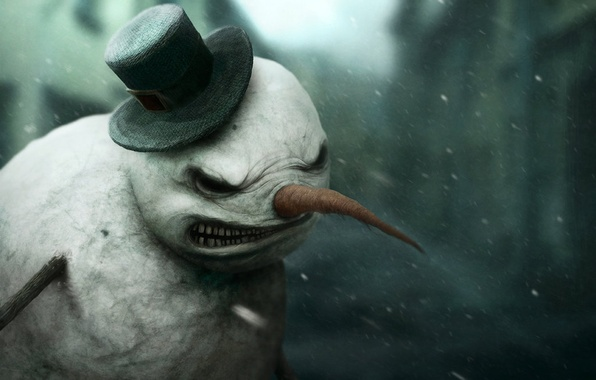 Картинка Dark, Digital Art, Miscellaneous, by *Gloom82, Snowman