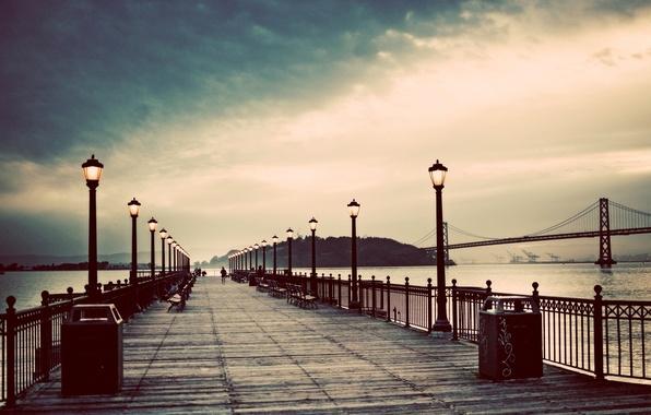 Картинка закат, мост, пирс