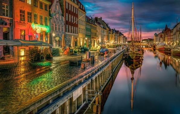 Картинка корабли, Дания, канал, набережная, Denmark, Copenhagen, Копенгаген, Новая гавань