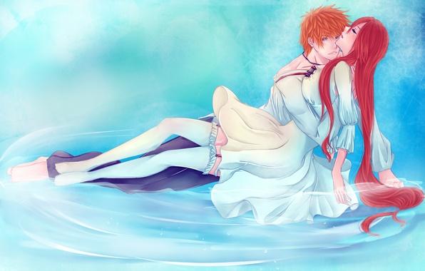 Картинка вода, девушка, чулки, аниме, арт, пара, парень, bleach, kurosaki ichigo, inoue orihime, iwonn