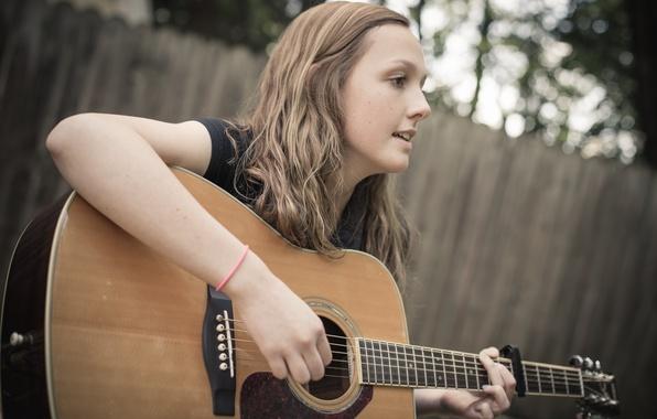 Фото обои девушка, игра, гитара