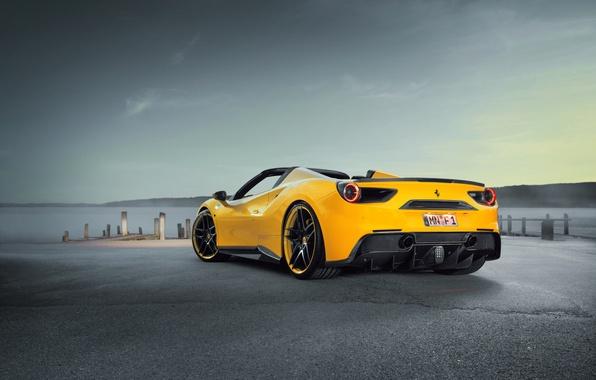 Картинка car, авто, тюнинг, Ferrari, supercar, феррари, sky, задок, Spider, Rosso, Novitec, 488, новитек