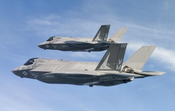Картинка небо, полет, истребители, бомбардировщики, Lightning II, F-35B