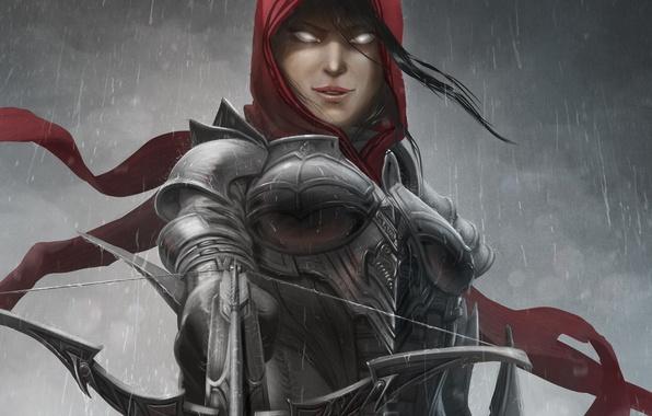 Картинка девушка, дождь, арт, капюшон, Diablo III, доспех, арбалет, Demon Hunter, Reaper of Souls