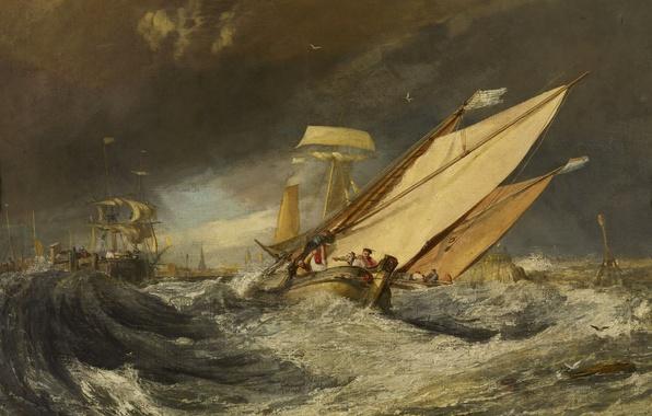 Картинка море, волны, шторм, люди, корабль, картина, парус, морской пейзаж, Уильям Тёрнер, Рыбацкие Лодки Входят в …