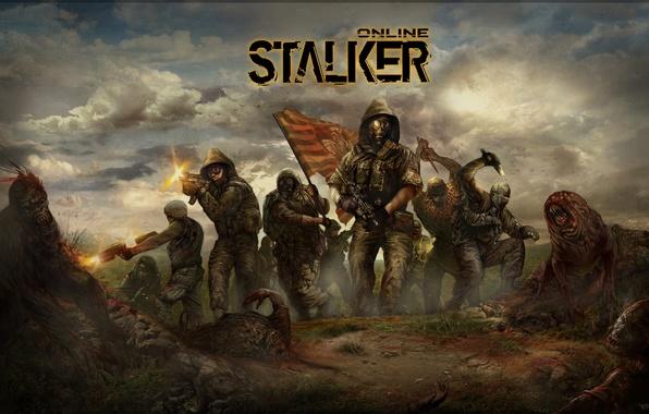 Картинка флаг, монстры, солдаты, stalker, зона, сталкеры
