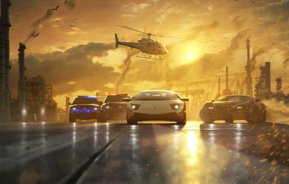 Картинка дорога, закат, машины, трубы, гонка, дым, полиция, погоня, арт, вертолет, Need for Speed, Most Wanted