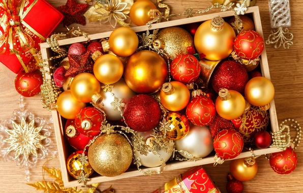 Картинка шарики, украшения, коробка, шары, игрушки, Новый Год, Рождество, красные, Christmas, золотые, праздники, New Year, елочные, …