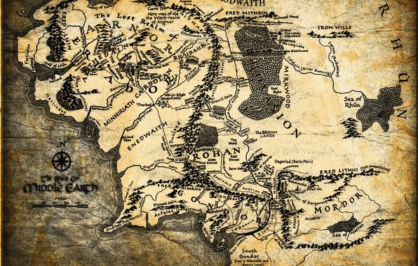 Картинка карта, Властелин колец, Дж. Р. Р. Толкин, The Lord of the Rings, Средиземье, Middle-earth
