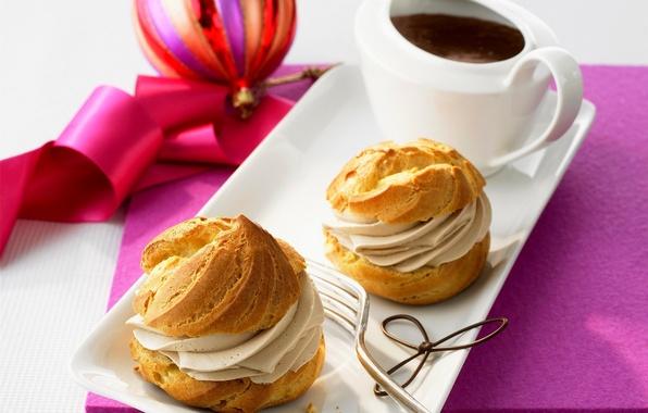 Картинка праздник, мяч, еда, шоколад, лента, украшение, пирожное, Happy New Year, cake, крем, десерт, food, сладкое, …