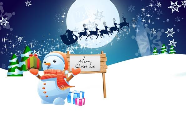 Картинка зима, снег, снежинки, ночь, праздник, луна, графика, новый год, рождество, подарки, снеговик, christmas, new year, …