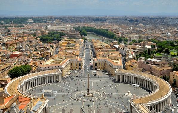 Картинка небо, пейзаж, река, дома, Рим, панорама, улицы, Ватикан, Тибр, площадь Святого Петра, пьяцца Сан Пьетро