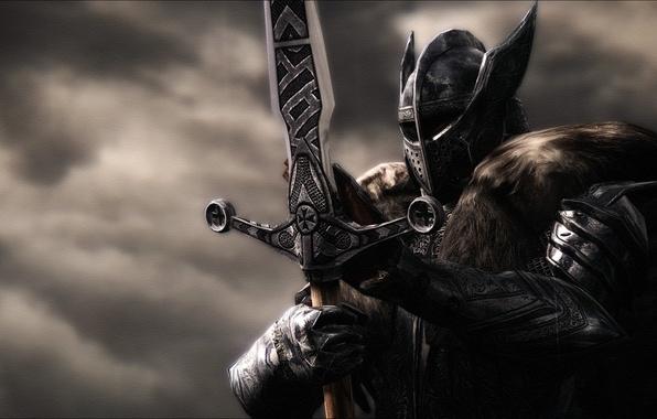 Картинка металл, рендеринг, фон, меч, доспехи, воин, шлем, рыцарь