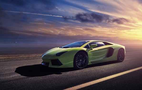 Картинка green, Lamborghini, ламборджини, зелёная, sun, LP700-4, Aventador, авентадор, LB834
