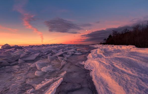 Картинка лед, лес, снег, природа, озеро, рассвет, берег