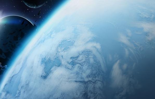 Картинка космос, планета, астероиды, арт, спутники