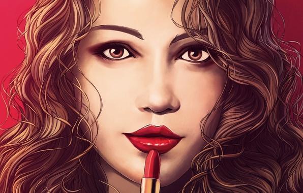 Картинка взгляд, девушка, лицо, волосы, помада, арт, живопись, красные губы