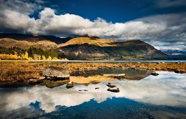 Картинка небо, облака, горы, озеро, отражение, камни, новая зеландия, new zealand