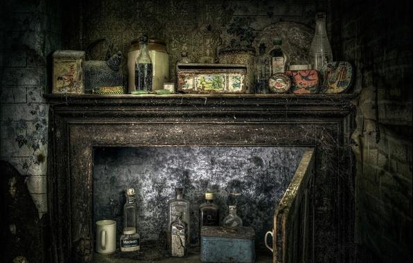 Картинка паутина, пыль, шкаф, банки, древность, склянки