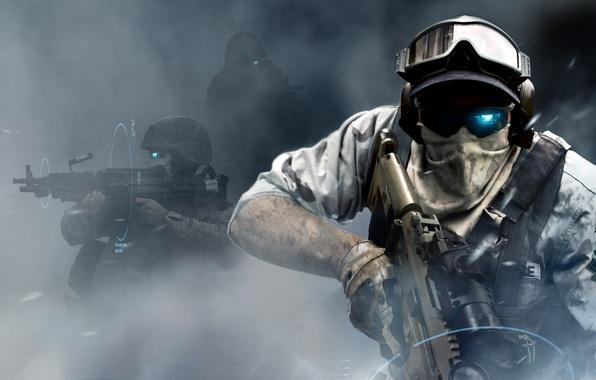 Картинка будущее, война, дым, очки, автомат, солдаты, пулемет, tom clancy's, future soldier, ghost recon, отряд