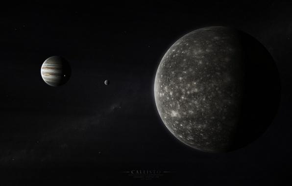 Картинка юпитер, солнечная система, млечный путь, спутники, газовый гигант, каллисто