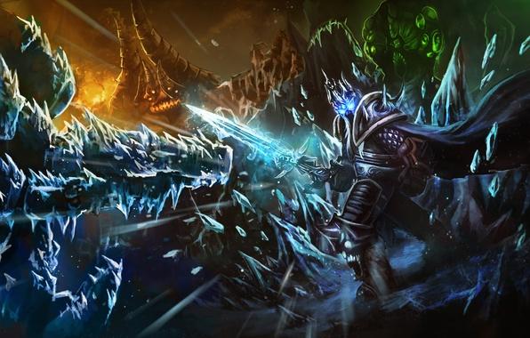 Фото обои Heroes of the Storm, лед, warcraft, diablo, arthas, lich king, Abathur, starcraft, меч, Azmodan