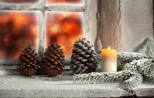 Картинка зима, свет, снег, свеча, окно, Рождество, light, holidays, winter, snow, праздники, window, Merry Christmas, candle, …