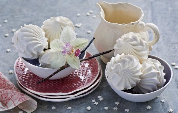 Картинка цветок, посуда, натюрморт, орхидея, зефир