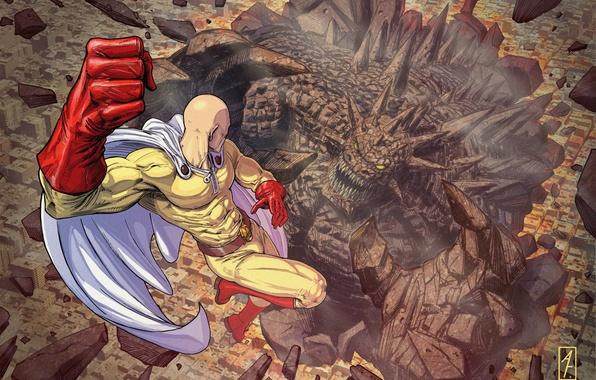 Картинка монстр, герой, битва, anime, art, Saitama, One Punch Man