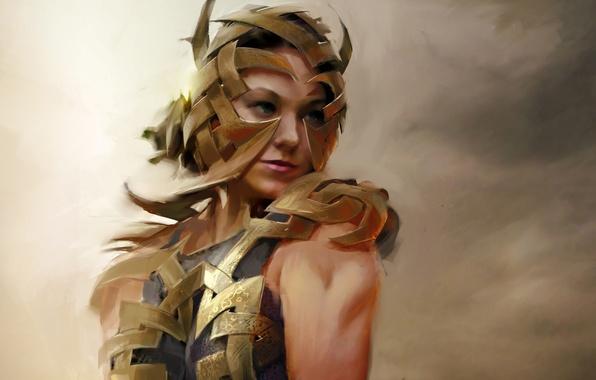 Картинка девушка, пластины, металл, ленты, арт, броня, Guild Wars